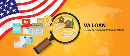 VA Loan mortgage loan in the United States guaranteed by the U.S. Department of Veterans Affairs vector Illustration