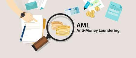 AML anti money laundering cash coin transaction company vector