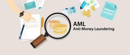 AML anti money laundering cash coin transaction company vector