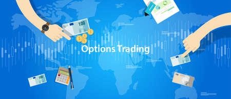 options trading illustration concept market analysis vector Illustration