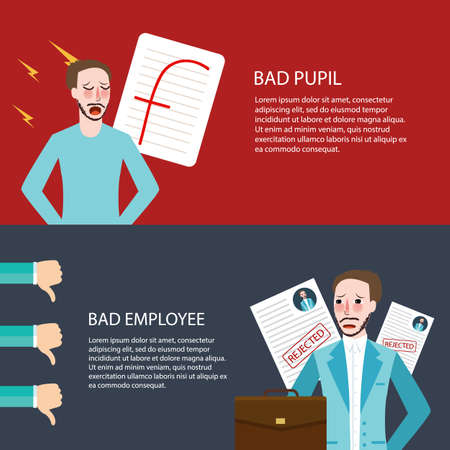 pupil: bad pupil employee best get F thumbs down future vector Illustration