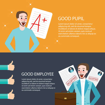 get up: good pupil employee best get A appreciation thumbs up bright future vector