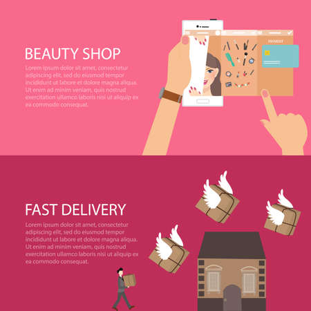beauty online shop make-up from gadget phone fast delivery send package fly to home vector Illustration
