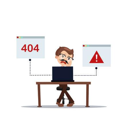 oops: error 404 people cartoon laptop frustrated vector