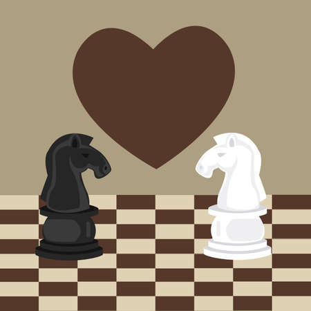 romance strategies: forbidden taboo no romance two horse chess fall in love vector