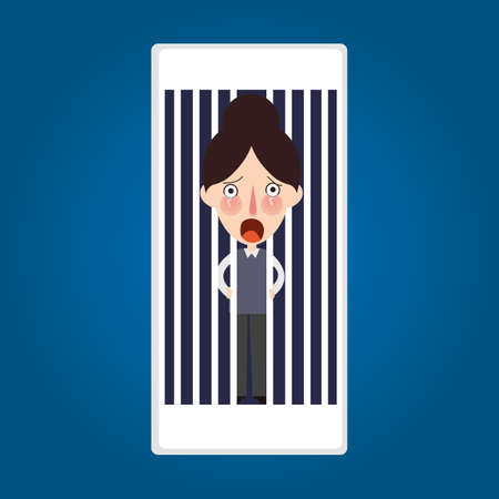 because: trapped inside phone jailed because mobile post activity vector