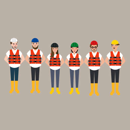 coverall: team of construction worker wearing helmet different color vector