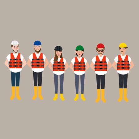safety vest: team of construction worker wearing helmet different color vector