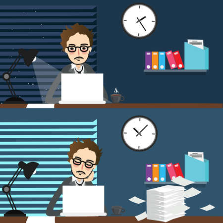 office time: businessman working night and day over time work-place in front of laptop office vector