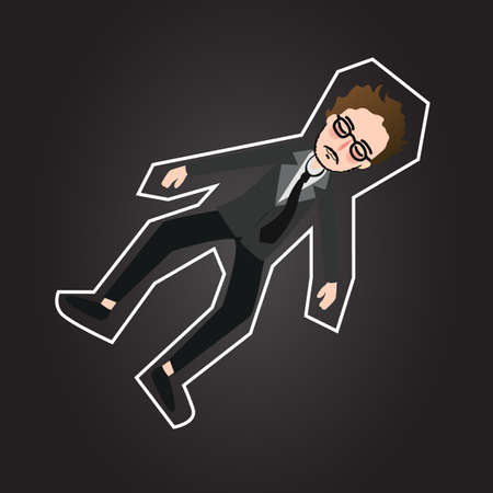 fatality: crime scene body outline chalk dead murder man wearing suit and tie vector