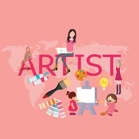 artist drawing since kids become graphic designer painting vector
