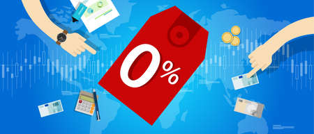 zero interest percent 0 promo rate discount number buy price banking loan Illustration