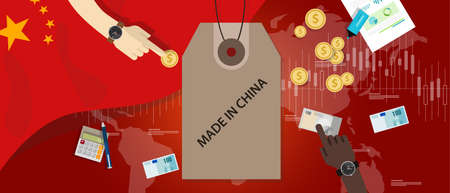 made in china: made in China flag trading international money exchange export import