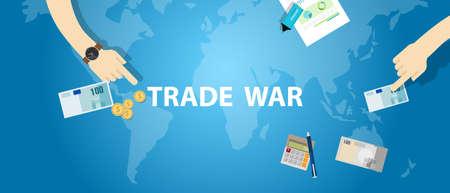 Handelskrieg Tarifgeschäft global Austausch international Vektorgrafik