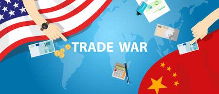 handelsoorlog Amerika China tarief bedrijf beurzengroep internationale Stock Illustratie