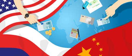 china business: America USA Russia China relation international business trade cold war bargain Illustration