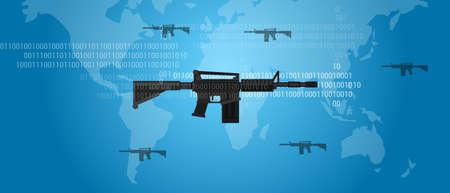 cyber warfare: cyber warfare concept gun digital code world wide military assault firearm