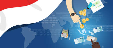 south asia: Indonesia economy business financial concept trading money market south east asia map with flag
