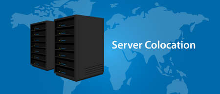 colocation: Colocation server web hosting services infrasctructure technology Illustration