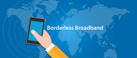 5g: border-less broadband 5G connect eveywhere around the world Illustration