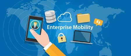 Enterprise Mobility überall Unternehmen verbunden überall mobiles Arbeiten Vektorgrafik