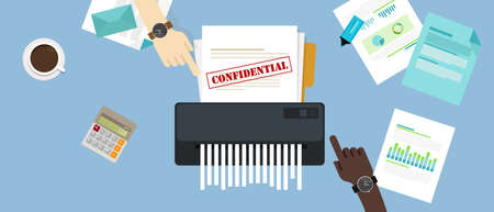 shredding: Paper shredder with a confidential and private document in office information protection.