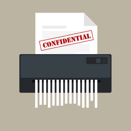 shredder: Paper shredder with a confidential icon and private document in a office information protection. Illustration