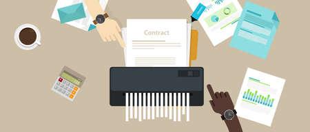 La cancelación del acuerdo de incumplimiento del contrato mostraba una trituradora de papel rota en una oficina de la compañía.