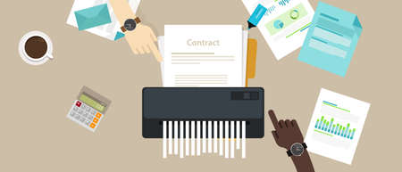 Contract failure agreement cancelation showed a  broken paper shredder in a  company office.