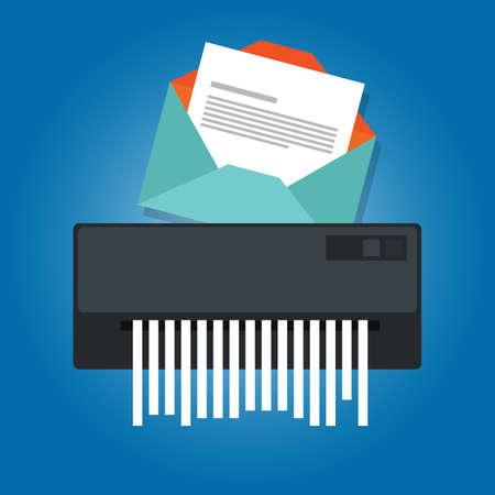 office theft: Deleting a spam email trash message paper  in a shredder. Illustration