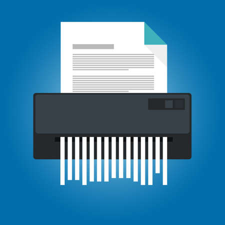 Paper shredder icon with a document on it in a business office. Vetores