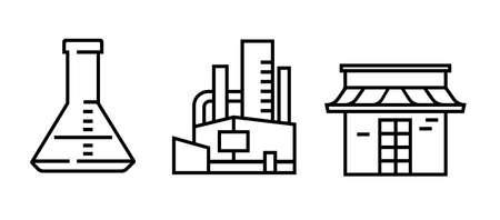 icon line lab lab factory y store que representan la producción de reasearch y venden el vector de producto