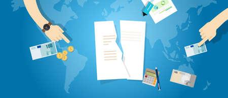 derrumbe: Cancelar acuerdo de asociación Transpacífico TPP rasgar contrato vector de documento de papel
