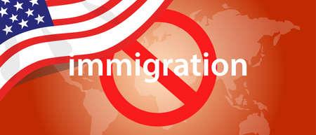 inmigración, viaje, prohibición, EE.UU., Estados Unidos, detención, país Ilustración de vector