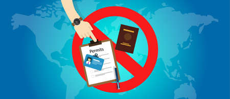 immigration travel ban USA United States of America detention from country passport permit Illustration