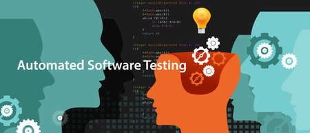 automated software testing script to fiind bug by programmer 向量圖像
