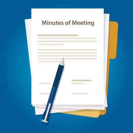 Minutas de documento de documento de reunión escribir pluma sobre resumen de la comunicación en la oficina Ilustración de vector