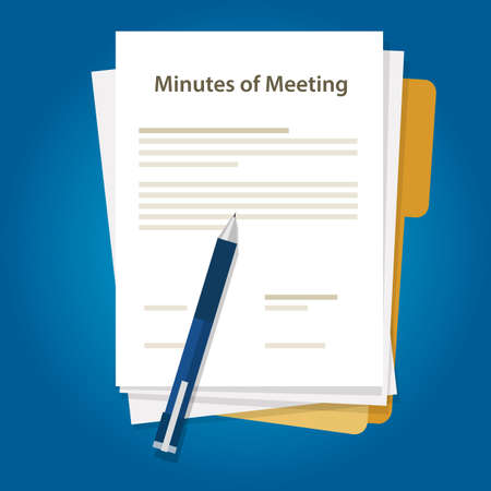 Minutes of meeting document paper write pen about summary of communication in office