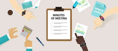 recap: Minutes of meeting document paper write pen about summary of communication in office
