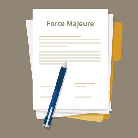force majeure clause included in contracts to remove liability for unavoidable catastrophes that restrict participants from fulfilling obligations Stock Illustratie