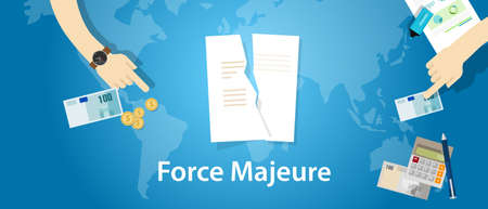 obligations: force majeure clause included in contracts to remove liability for unavoidable catastrophes that restrict participants from fulfilling obligations Illustration