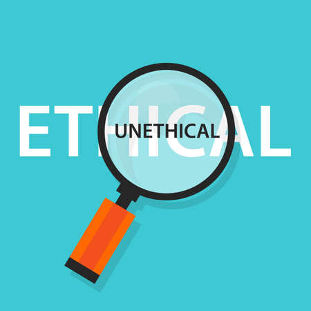 Ethical unethical concept comparison for moral behavior