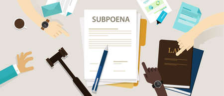 subpoena ordering a person to attend a court Illustration