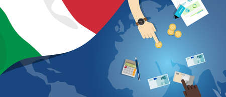 fiscal: Italy economy fiscal money trade concept illustration of financial banking budget with flag map and currency