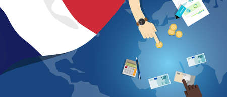 economic interest: France economy fiscal money trade concept illustration of financial banking budget with flag map and currency