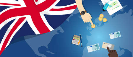 UK United Kingdom England economy fiscal money trade concept illustration of financial banking budget with flag map and currency