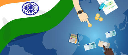economic interest: India economy fiscal money trade concept illustration of financial banking budget with flag map and currency