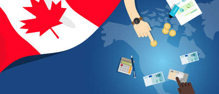 Canada economy fiscal money trade concept illustration of financial banking budget with flag map and currency vector Illustration