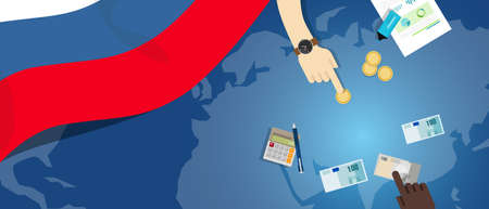 economic interest: Russia economy fiscal money trade concept illustration of financial banking budget with flag map and currency vector