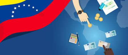 Economía de Venezuela, ilustración de concepto de comercio de dinero fiscal de presupuesto de banca financiera con mapa de bandera y moneda